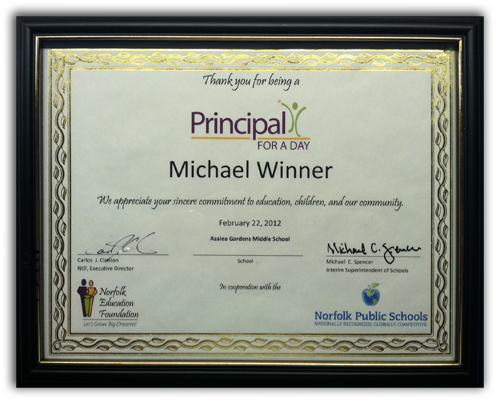 Principal for a Day Certificate